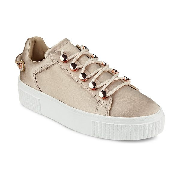KENDALL + KYLIE Kendall and Kylie Rae Satin Lace Up Platform Sneakers - Kendall and Kylie Rae Satin Lace Up Platform Sneakers-Shoes
