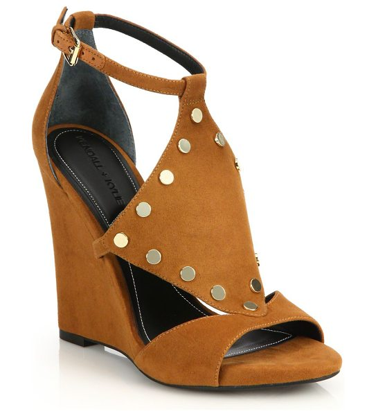 KENDALL + KYLIE Alexa studded suede wedge sandals in tan - Shiny studs add boho-chic style to cutout suede...