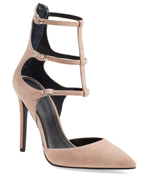 KENDALL + KYLIE alisha tiered ankle strap pump in beige kid suede
