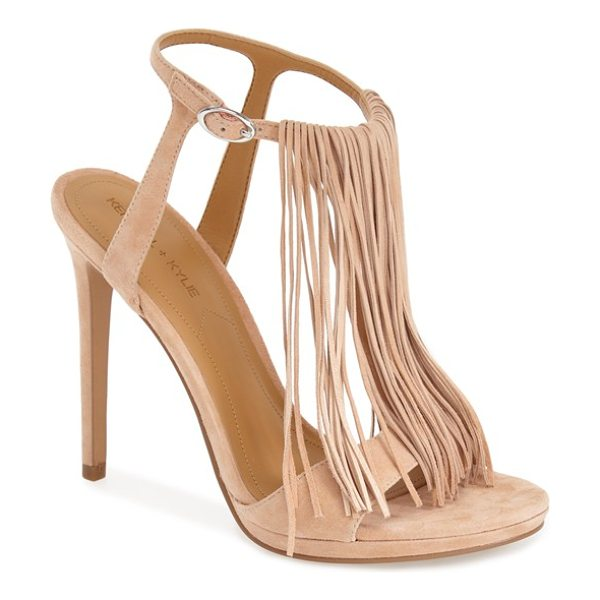 KENDALL + KYLIE aries fringe t-strap sandal in soft pink suede - Dramatic fringe adds flirty movement and vintage...