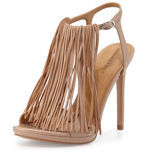"KENDALL + KYLIE Aries leather fringe sandal in light natural - KENDALL + KYLIE leather sandal with fringe trim. 4. 5""..."