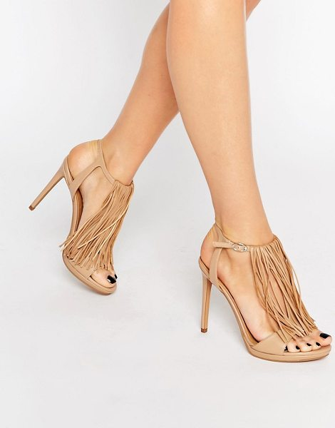 KENDALL + KYLIE Kendall & Kylie Aries Nappa Leather Fine Fringed Heeled Sandals in beige - Heels by Kendall Kylie, Leather upper, Pin buckle ankle...
