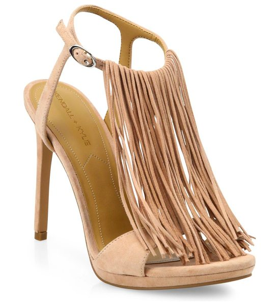 KENDALL + KYLIE Aries tassel suede sandals in pink - Swingy on-trend fringe overlays suede T-strap...