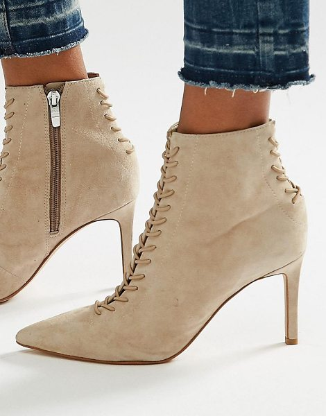 KENDALL + KYLIE Beige Suede Point Stiletto Lace Up Boot in beige - Boots by Kendall Kylie, Textile upper, Lace-up...