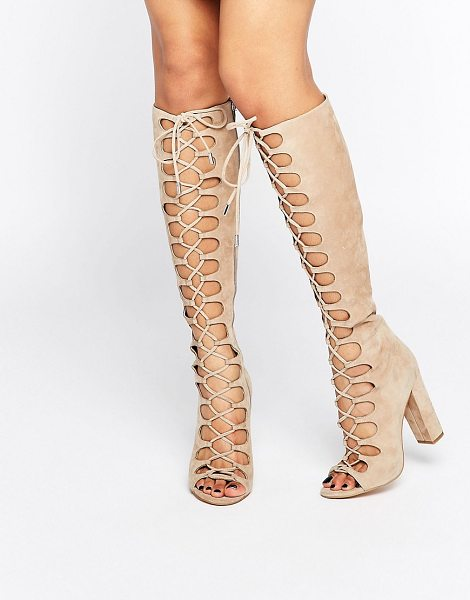 KENDALL + KYLIE Beige Tie Up Knee Sandals in beige - Boots by Kendall Kylie, Suede upper, Lace-up fastening,...
