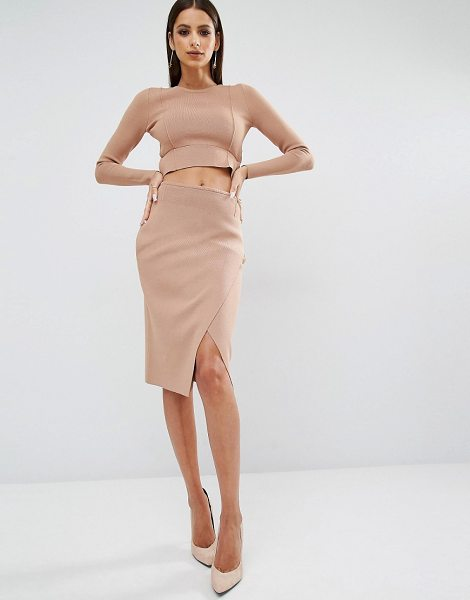 KENDALL + KYLIE Compact Overlap Pencil Skirt - Pencil skirt by Kendall Kylie, Soft knitted fabric, High...