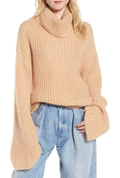 KENDALL + KYLIE cross back turtleneck sweater in toasted almond