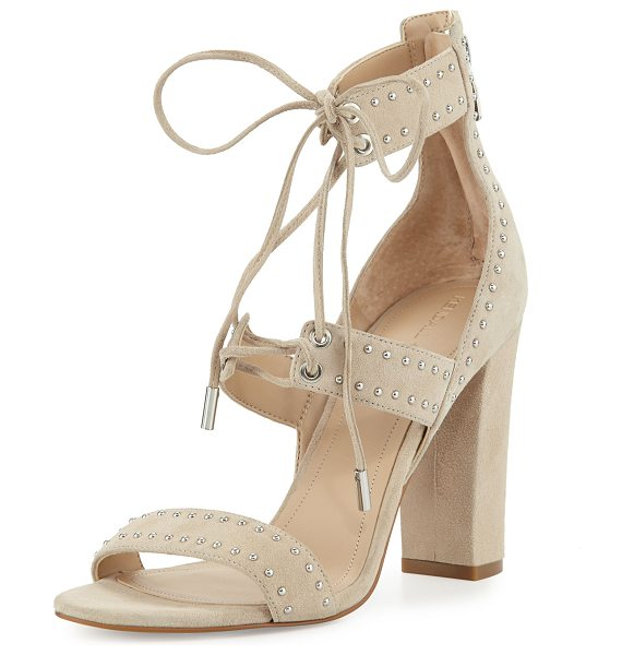 KENDALL + KYLIE Dawn Studded Strappy Sandal in light natural - Kendall + Kylie suede sandal with studded trim. Covered...
