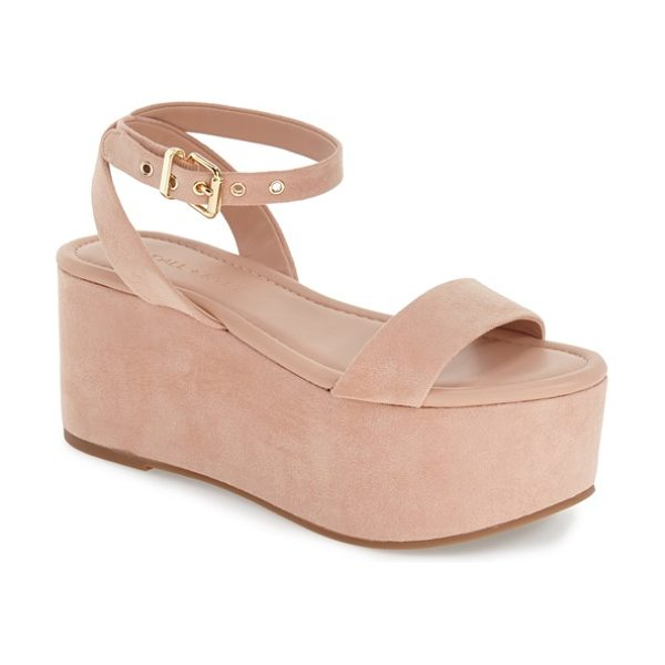 KENDALL + KYLIE demi platform sandal in blush suede - A suede wrapped platform makes a bold statement on a...