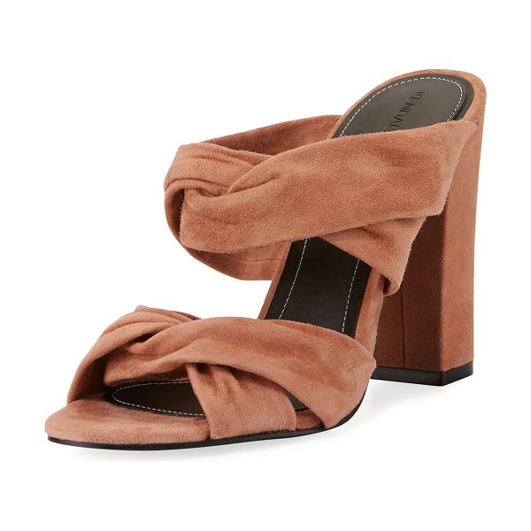 KENDALL + KYLIE Demy Knot Slide Mule Sandal in dark natural - Kendall + Kylie suede sandal with knotted straps....