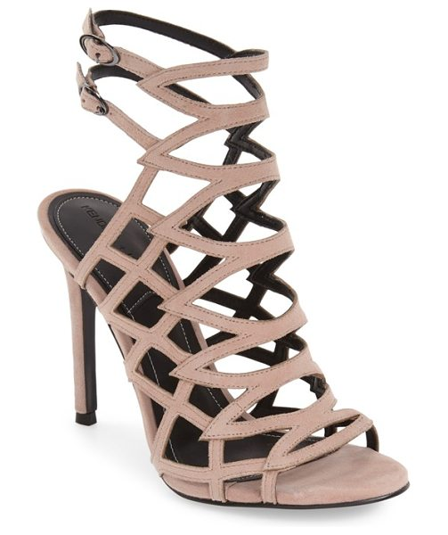KENDALL + KYLIE elisa cage sandal in natural suede - Sleek cage construction defines a chic day-to-night...