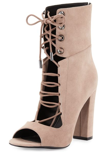 "KENDALL + KYLIE Ella lace-up block-heel bootie in dark modern beige - Kendall + Kylie suede bootie. 4. 3"" covered block heel...."