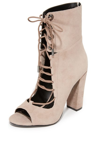 KENDALL + KYLIE ella open toe booties in dk modern beige - Conical grommets accent the notched ankle cuff on these...
