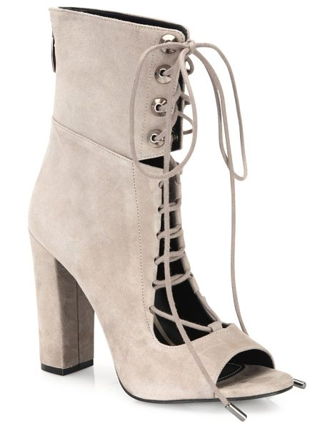 KENDALL + KYLIE ella suede lace-up block-heel booties in darkmodernbeige - Notched suede peep-toe bootie with lace-up styling....