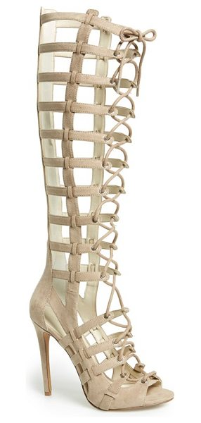 KENDALL + KYLIE emily tall gladiator sandal in taupe suede - An ultra-sultry tall gladiator sandal is fitted with a...