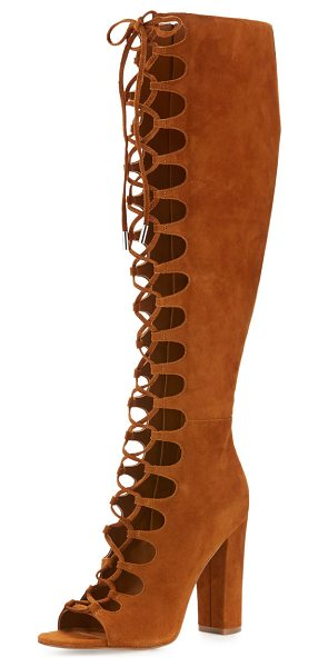 """KENDALL + KYLIE Emma lace-up gladiator boot in cognac - Kendall + Kylie suede gladiator boot. 4. 3"""" covered..."""
