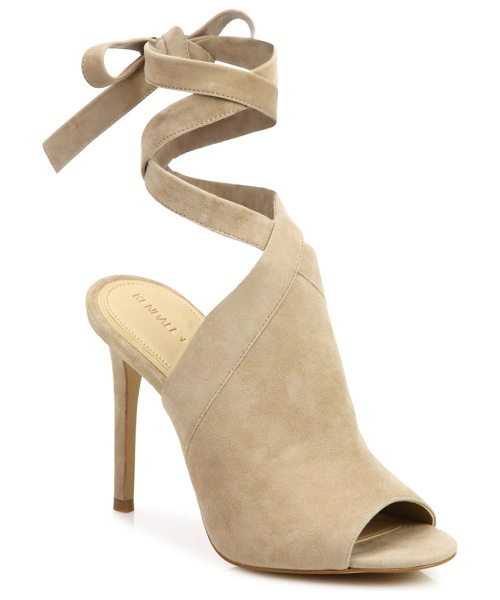 KENDALL + KYLIE evelyn suede ankle-tie sandals in light natural - Sultry suede peep-toe mule with wraparound ankle tie....