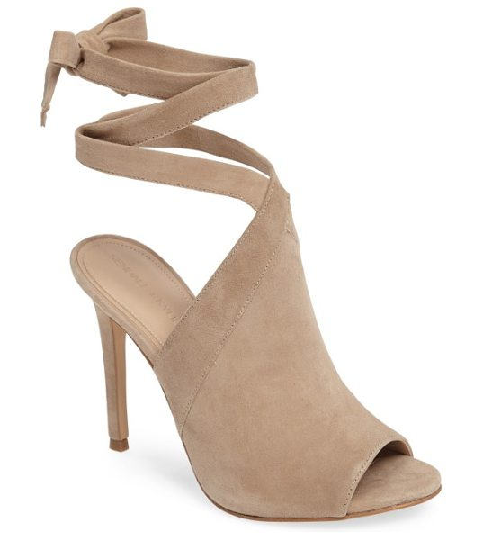 KENDALL + KYLIE evelyn wraparound high sandal in sand suede - Tapered straps cross elegantly above the vamp and wrap...