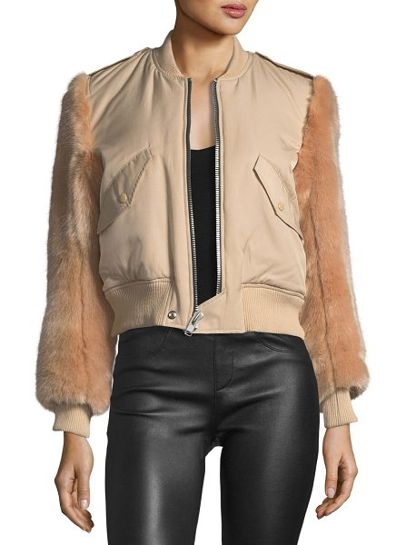 KENDALL + KYLIE Faux-Fur Zip-Front Bomber Jacket in nude - Kendall + Kylie bomber jacket with faux-fur...