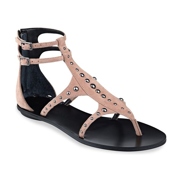 KENDALL + KYLIE fayth studded suede ankle strap sandals in pink - On-trend suede sandals showcase smooth studded trims....
