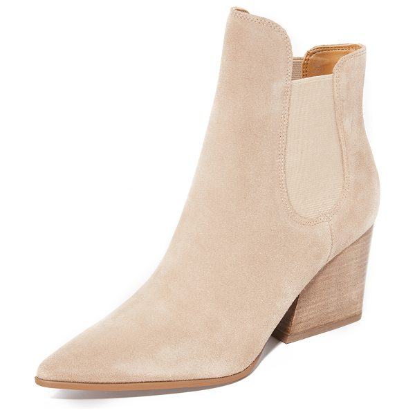 KENDALL + KYLIE finley booties in walnut - Suede KENDALL + KYLIE booties styled with a sculpted top...