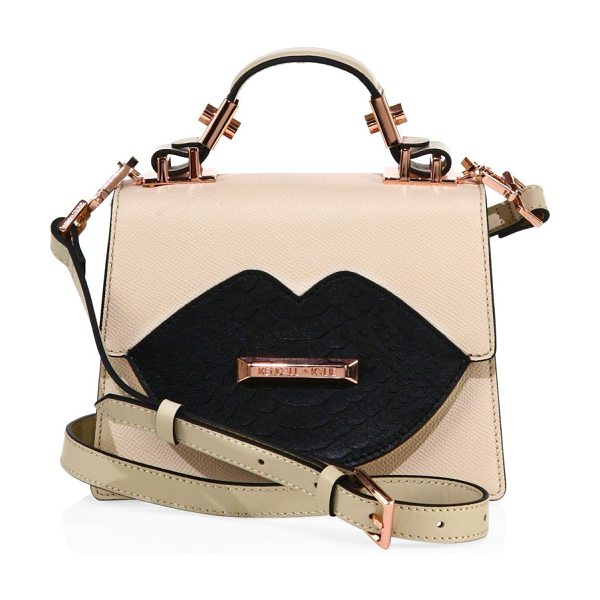 KENDALL + KYLIE gaby leather crossbody bag in cream - Striking lip design at front uplifts this chic bag. Top...