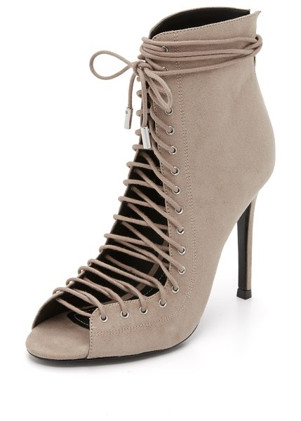 KENDALL + KYLIE Ginny lace up heels in taupe - Polished agelets accent the lace up ties on these faux...