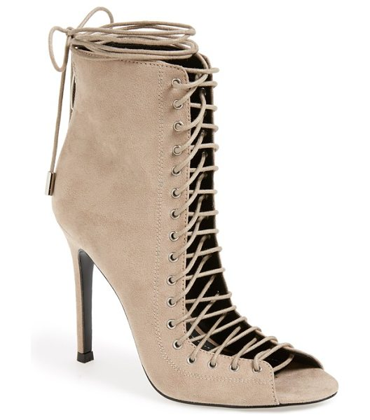 KENDALL + KYLIE ginny lace-up sandal in taupe suede - A Victorian-inspired sandal is designed with seriously...