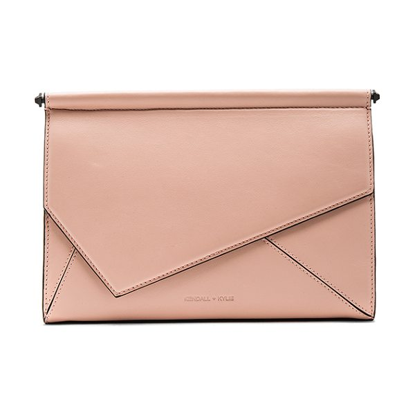 KENDALL + KYLIE Ginza Clutch in blush - Leather and embossed leather exterior with suede...