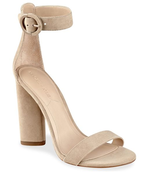 KENDALL + KYLIE giselle high-heel suede ankle strap sandals in lightnatural - Smooth suede sandals complement your fabulous look....