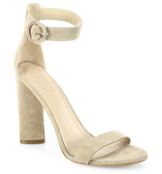 KENDALL + KYLIE giselle suede ankle-strap sandals in light natural - Minimalist suede ankle-strap sandal with round buckle....