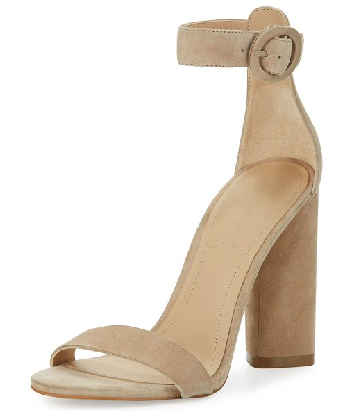 """KENDALL + KYLIE Giselle Suede Chunky-Heel Sandal - Kendall + Kylie calf suede sandal. 4.3"""" covered block..."""