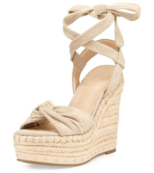 KENDALL + KYLIE Grayce Espadrille Wedge Sandal in light natural - Kendall + Kylie suede espadrille sandal with studded...