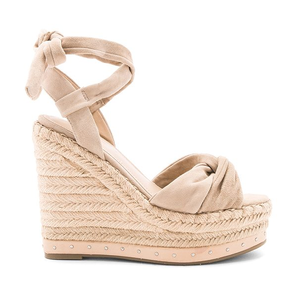 "KENDALL + KYLIE Grayce Wedge in tan - ""Suede upper with rubber sole. Wrap ankle with tie..."