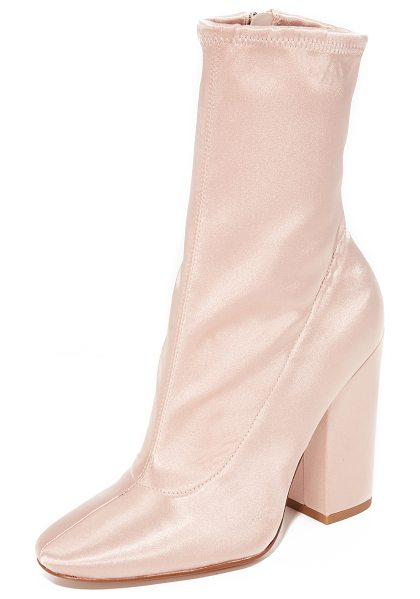 KENDALL + KYLIE hailey satin booties in blush - A stretch shaft adds formfitting style to these elegant...