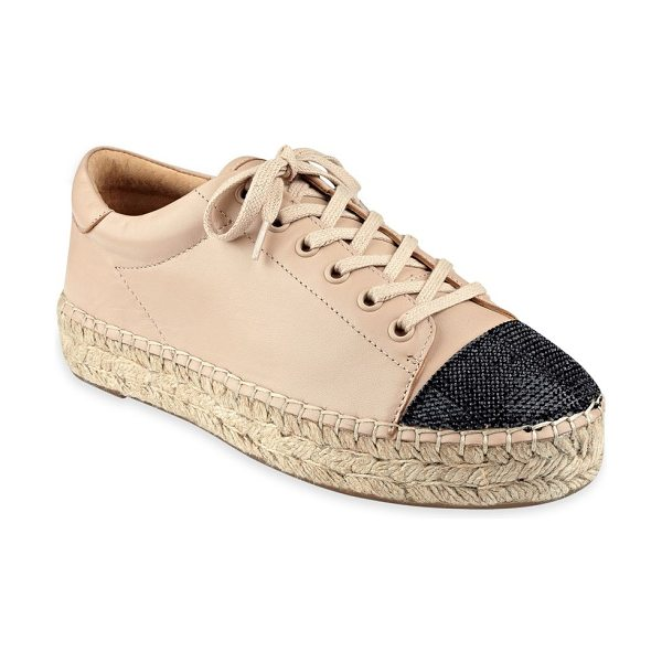 KENDALL + KYLIE joslyn leather cap toe espadrille sneakers - Leather sneaker with woven cap toe on espadrille sole....