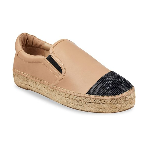 KENDALL + KYLIE joss leather espadrilles in tanmulti - Leather espadrilles with embellishments on toe....