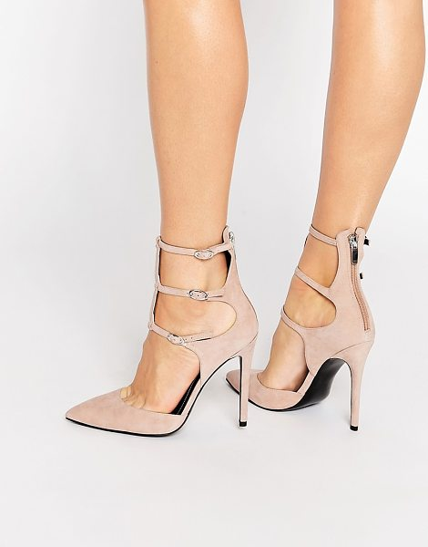 KENDALL + KYLIE Kendall & Kylie Alisha Nude Suede Caged Pointed Pumps in pink - Heels by Kendall Kylie, Suede upper, Zipped heel, Pin...