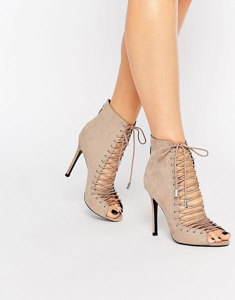 KENDALL + KYLIE Kendall & Kylie Ginny Nude Suede Ghillie Lace Up Peep Toe Shoe Boot - in beige - Boots by Kendall Kylie, Suede upper, Zipped heel,...