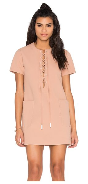KENDALL + KYLIE Lace Up Safari Dress - Poly blend. Dry clean only. Unlined. Lace-up front with...