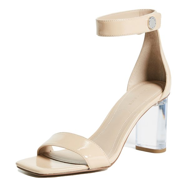 KENDALL + KYLIE lexx ankle strap sandals in light natural - Leather: Cowhide Metallic finish Transparent acrylic...