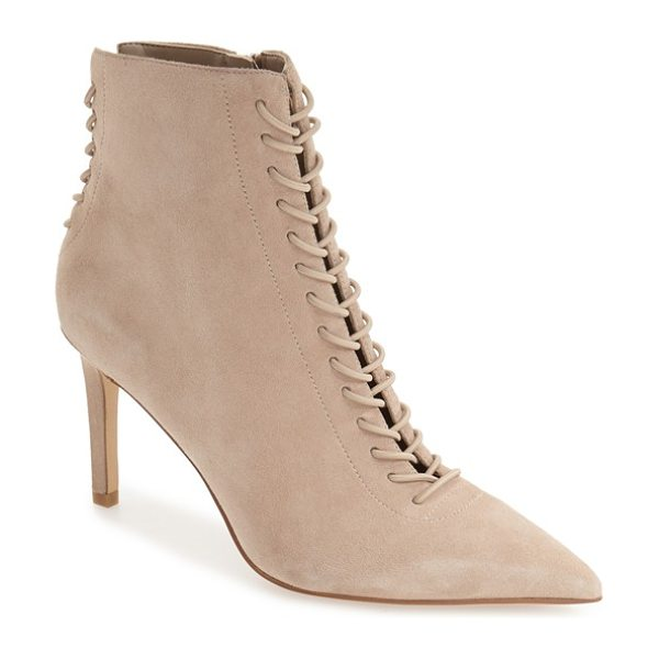 KENDALL + KYLIE 'liza' pointy toe bootie in sand suede - A corseted vamp and back against a tonal suede finish...
