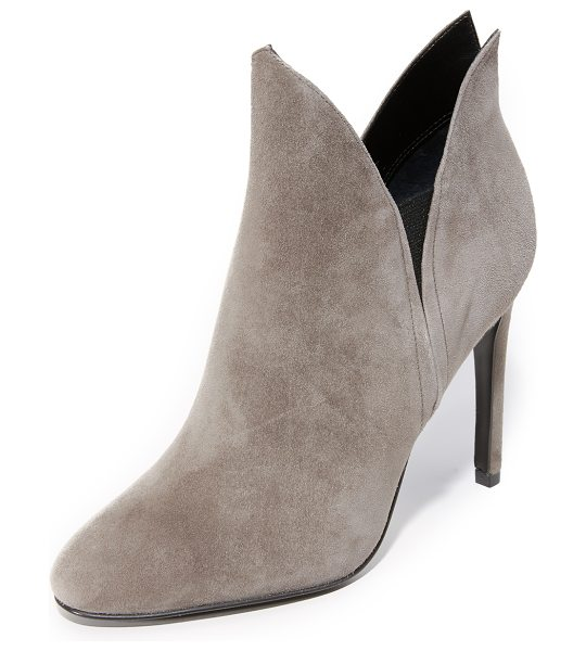 KENDALL + KYLIE Kendall + Kylie Madison Booties in dusty taupe/black - Velvety suede KENDALL + KYLIE booties styled with a...