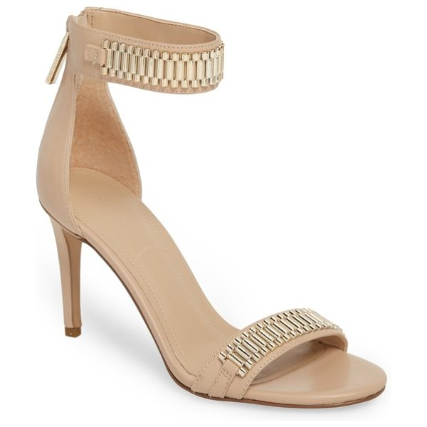KENDALL + KYLIE miaa beaded sandal in light latte/ platinum - Stand out in sophisticated style in this ankle-strap...