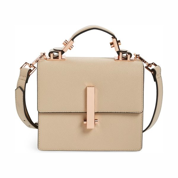 KENDALL + KYLIE mini minato leather top handle satchel in cream tan - A boxy silhouette and richly pebbled leather define a...