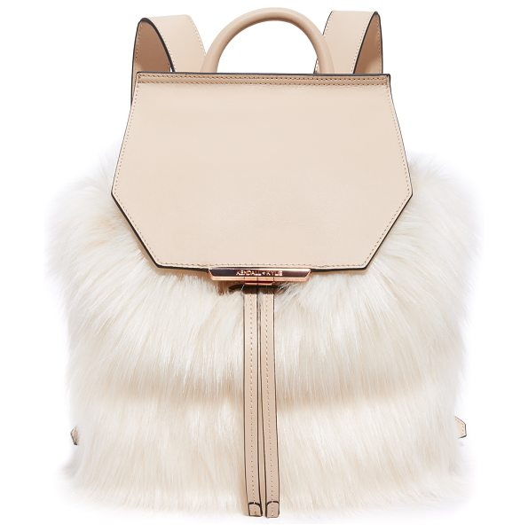 KENDALL + KYLIE nancy backpack in tan - Sophisticated faux-fur cover this smooth leather KENDALL...