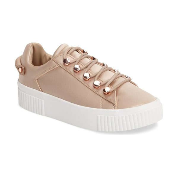 KENDALL + KYLIE rae 3 platform sneaker in blush satin - Gleaming metal eyelets give signature edge to a sleek...
