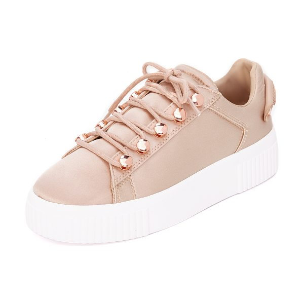 KENDALL + KYLIE rae iii satin sneakers - A ridged platform adds a sturdy lift to these satin...