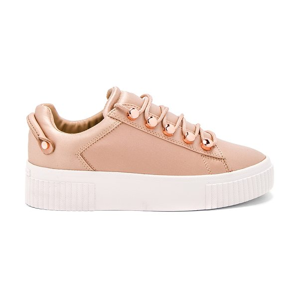 "KENDALL + KYLIE Rae Sneaker in blush - ""Satin textile upper with rubber sole. Lace-up front...."