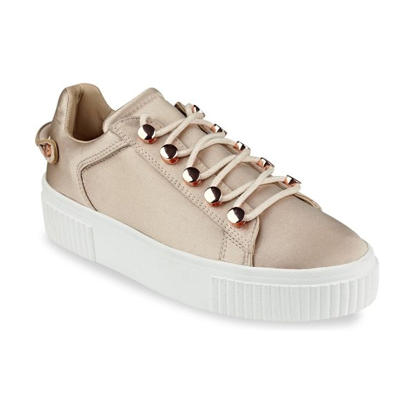 KENDALL + KYLIE rae3 satin platform sneakers in blush - Glossy satin low-top sneaker set on platform sole....